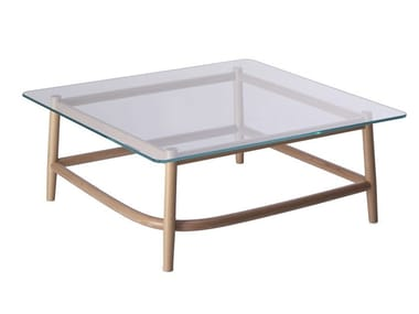 Square wood and glass coffee table SINGLE CURVE LOW TABLE | Wood and glass coffee table