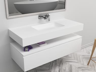 Rectangular single wall-mounted Corian® washbasin TORONTO | Single washbasin