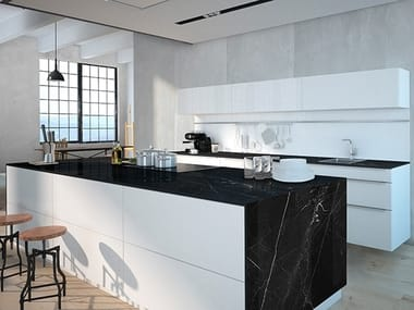 Sintered ceramic kitchen worktop with marble effect NEGRO MARQUINA | Sintered ceramic kitchen worktop