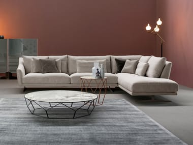Corner sectional fabric sofa with footstool SKID | Corner sofa