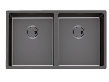 2 bowl flush-mounted stainless steel sink SKIN 2V R12 S/T GUNMETAL