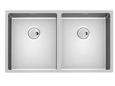 2 bowl undermount stainless steel sink SKIN 2V R12 S/TOP