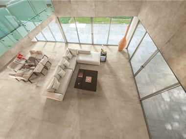 Porcelain stoneware wall/floor tiles with concrete effect SKYLINE BEIGE