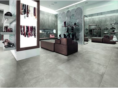 Porcelain stoneware flooring with concrete effect SKYLINE GHIACCIO