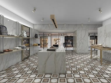 Porcelain stoneware wall/floor tiles with marble effect SLABS - BORGHINI DECOR