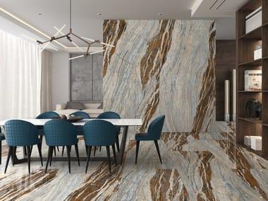 Pavimento/rivestimento in gres porcellanato effetto marmo SLABS - OCEAN BLUE
