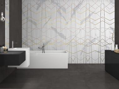 Rivestimento in gres porcellanato effetto marmo SLABS - STATUARIO DECOR