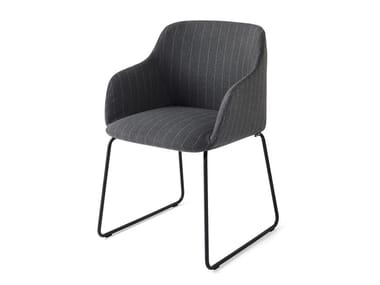 Sled base upholstered chair with armrests ELLE | Sled base chair