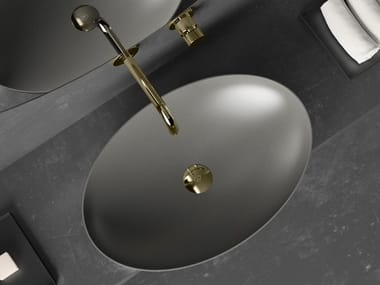 Countertop oval Vetro Freddo® washbasin SLIDE | Oval washbasin