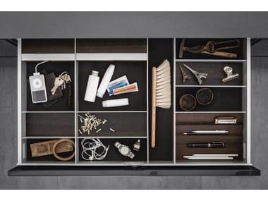 Aluminium and wood Drawer insert Sliding drawer system