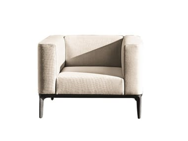 Upholstered fabric armchair with armrests SLIM | Armchair