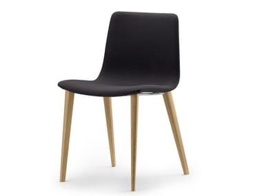 Chaise en tissu SLIM CHAIR WOOD SOFT L / 89M