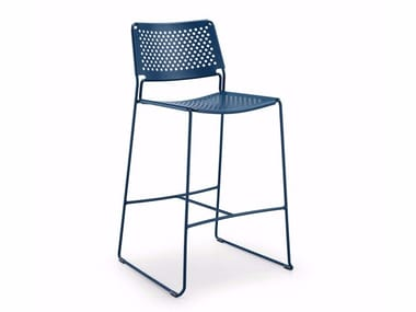 High steel garden stool with back SLIM H65 IN