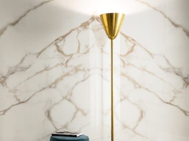 Laminated stoneware wall/floor tiles with marble effect SLIMTECH DELIGHT CALACATTA ORO