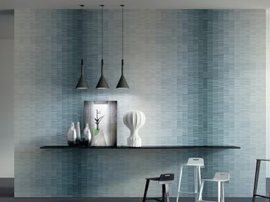 Laminated stoneware wall tiles SLIMTECH LINES WAVE BLUE