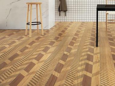 Laminated stoneware wall/floor tiles with wood effect SLIMTECH TYPE 32 HONEY