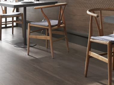 Antibacterial laminated stoneware flooring with wood effect SLIMTECH WOOD STOCK COFFEE WOOD
