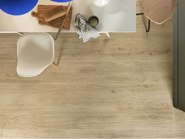 Antibacterial laminated stoneware flooring with wood effect SLIMTECH WOOD STOCK CREAM WOOD