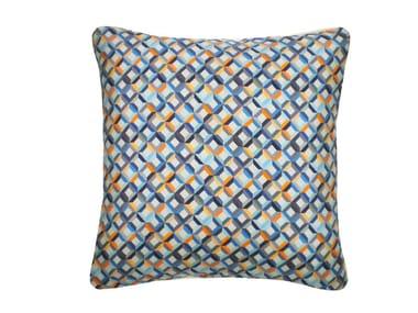 Square silk cushion SMALL CHEVRON PRINTED SILK TEAL YELLOW