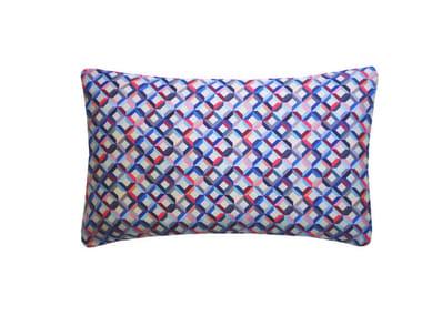 Rectangular silk cushion SMALL CHEVRON PRINTED SILK PINK BLUE