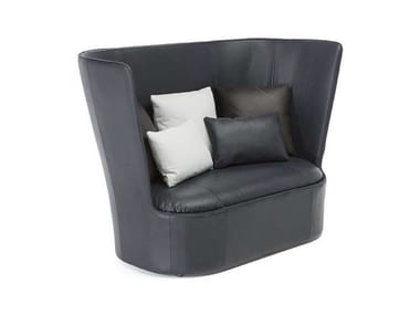 High-back leather small sofa CAPE | Small sofa
