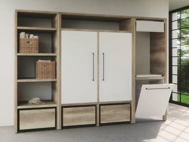 Sectional melamine-faced chipboard laundry room cabinet with hinged doors for washing machine SMARTOP - COMPOSITION 11