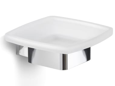 Wall-mounted satin glass soap dish LOUNGE | Soap dish