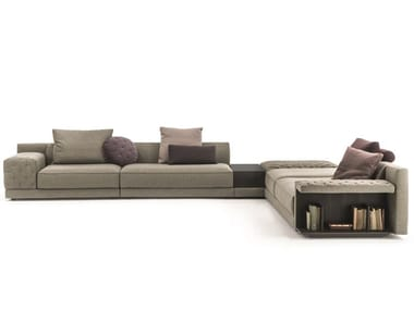 Sectional fabric sofa with integrated magazine rack MILLER | Sofa