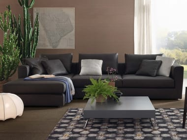 3 seater leather sofa with chaise longue RENÈ LIGHT | Leather sofa