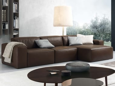 Leather sofa with chaise longue DANIEL | Sofa with chaise longue