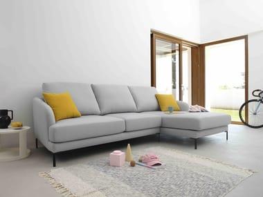 Sofá 3 lugares de tecido com chaise-longues RONDO   Sofá com chaise-longues