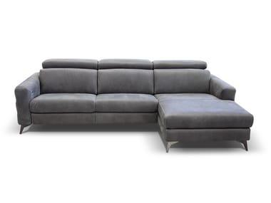 Divano reclinabile in pelle con chaise longue ERMES | Divano con chaise longue