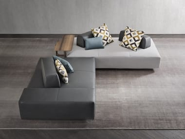 Upholstered modular fabric bench with back SOFTBENCH