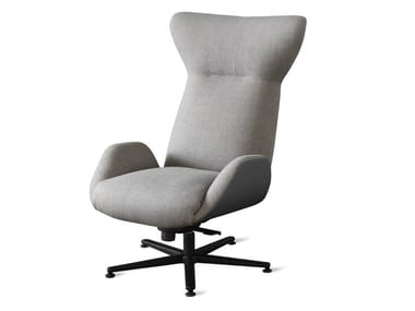 High-back fabric armchair with armrests SOHO GIREVOLE