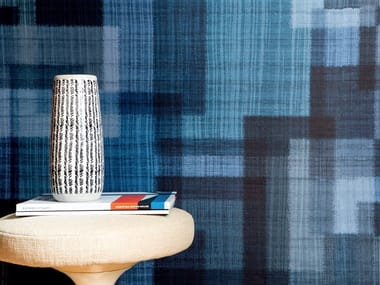 Textile effect vinyl wallpaper SOIE CHANGEANTE - MADRAS