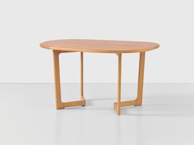 Oval wood veneer coffee table SOL