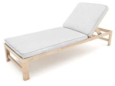 Reclining garden lounger in fir and fabric SOLAR
