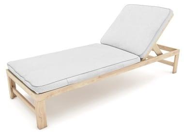 Lettino da giardino reclinabile in abete e tessuto SOLAR