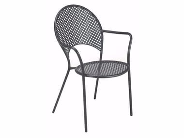 Stackable steel garden chair with armrests SOLE