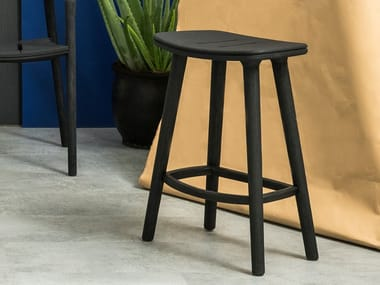 High teak stool with footrest SOLID | Stool