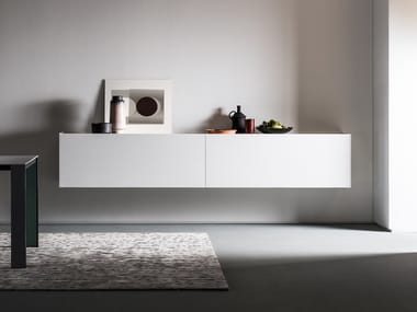 Suspended Solid Surface sideboard with sliding doors ATELIER | Solid Surface sideboard