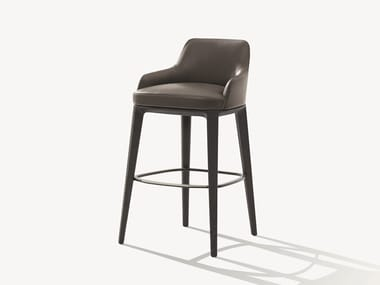 High leather stool with footrest SOPHIE | Leather stool
