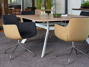 Swivel trestle-based easy chair with armrests SOUL | Trestle-based easy chair