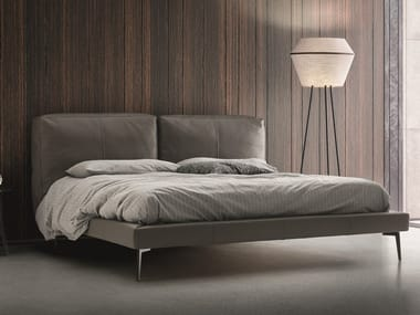 Leather bed with upholstered headboard SOUND | Leather bed