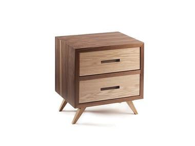 Tables de chevet rectangulaire en bois avec tiroirs SPACE | Tables de chevet