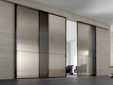 Fabric glass sliding door SPARK | Decorated glass door