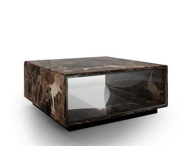 Dark Emperador marble coffee table with storage space SPEED