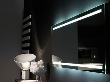 Rectangular wall-mounted mirror with integrated lighting SPIO75S144