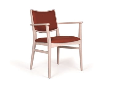 Upholstered solid wood chair with armrests SPIRIT EST CB