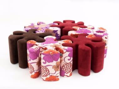 Upholstered fabric pouf SPLASH